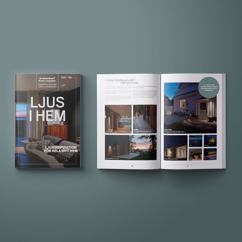 A mockup on the catalog Ljus i hem. A catalog which shows our lighting range for home environment.