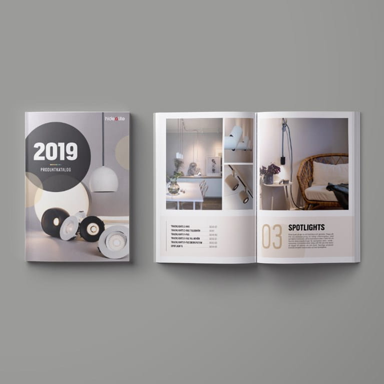 A mockup on our product catalogue 2019. A catalogue that covers our entire range.
