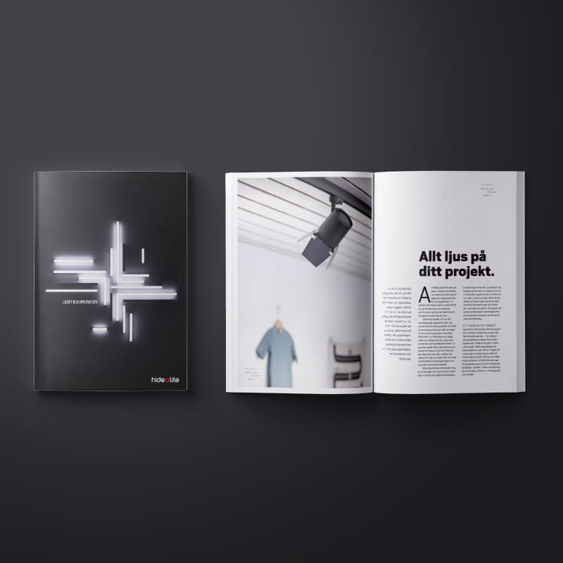 A mockup on the catalog Ljuset och upplevelser. A catalog which shows lighting inspiration for public environment.