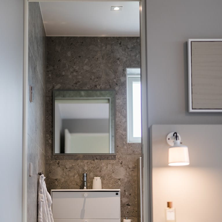 Bathroom illuminated by Bright Eye G2 Square 1 from Hidealite at home at Johanna Haglund, Design of.