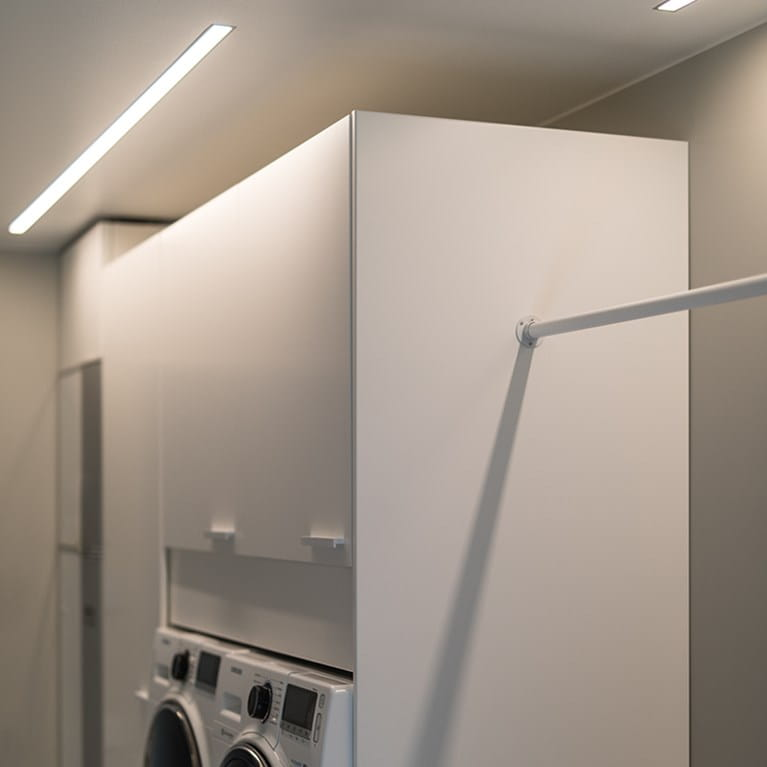 LEDstrip from Hidealite in a laundryroom at home at Johanna Haglund, Design Of.
