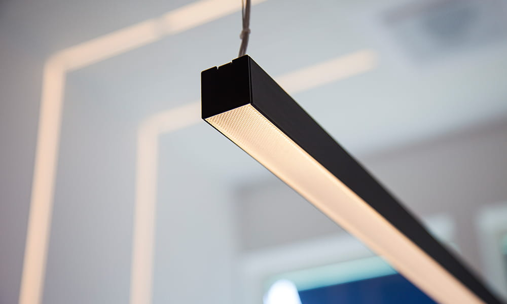 LEDstrip solution together with a profile from Hidealite in a office.
