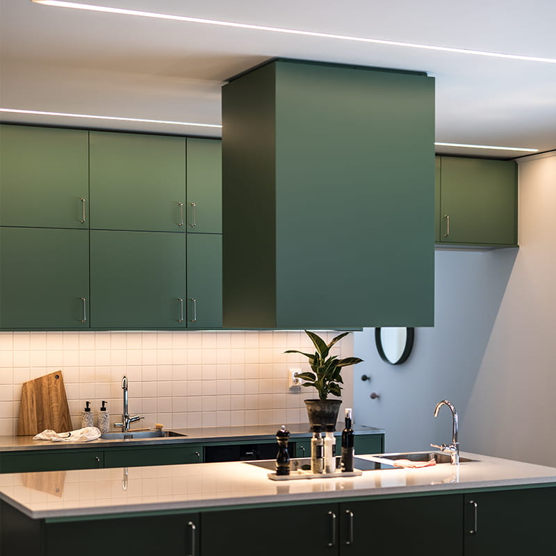 LEDstrip solution from Hidealite placed in a kitchen.