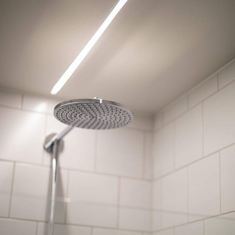 LEDstrip with high IP rating placed over a shower.